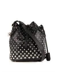 Padlock studded leather bucket bag medium 124253