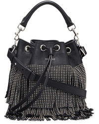 Saint Laurent Small Stud Fringe Bucket Shoulder Bag Black