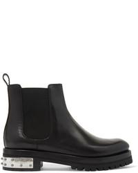 Alexander McQueen Embellished Leather Chelsea Boots Black