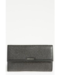 Black Embellished Leather Clutch