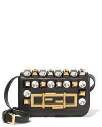 Fendi Baguette Mini Embellished Leather Shoulder Bag Black