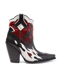 Valentino Garavani Ranch 95 Leather And Python Ankle Boots