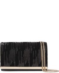 Diane von Furstenberg Soire Embellished Velvet And Leather Shoulder Bag Black