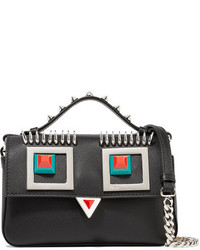 Fendi Double Baguette Micro Embellished Leather Shoulder Bag Black