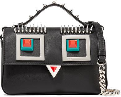 aa35e9c0044 $1,850, Fendi Double Baguette Micro Embellished Leather Shoulder Bag Black