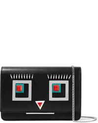 Fendi Embellished Leather Shoulder Bag Black