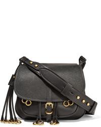 Prada Messenger Embellished Leather Shoulder Bag Black
