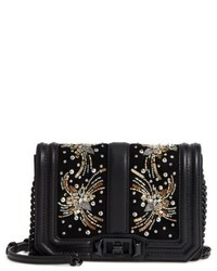 Rebecca Minkoff Small Love Embellished Leather Crossbody Bag Black