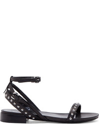 MCQ Alexander Ueen Black Studded Solenie Flat Sandals