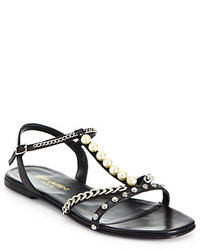 Saint Laurent Alice Embellished Leather Sandals