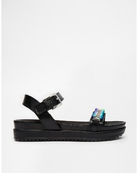 Love Moschino Black Chain Detail Flat Sandals