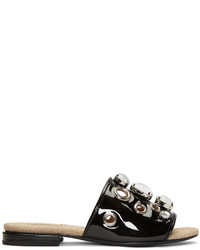 Toga Pulla Black Embellished Slide Sandals