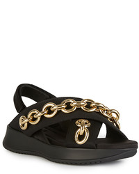 Burberry Black Leather Actonshire Chain Sandals