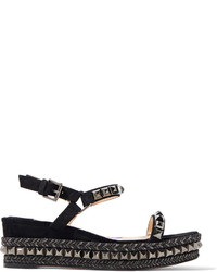 Christian Louboutin Cataclou 60 Embellished Suede And Leather Wedge Sandals Black