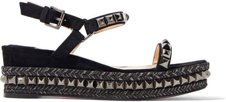 super popular bf013 9833f $795, Christian Louboutin Cataclou 60 Embellished Suede And Leather Wedge  Sandals Black