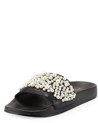 Neiman Marcus Embellished Leather Slide Flat Sandal Black