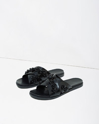 Simone Rocha Embellished Leather Slide Sandal