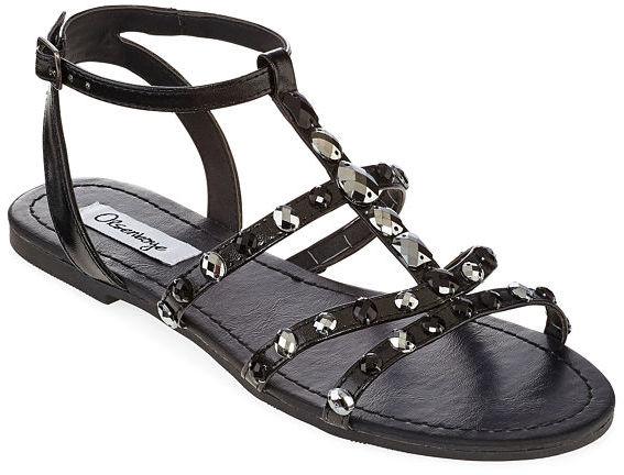 845b9f6aa2718 ... Black Embellished Leather Flat Sandals jcpenney Olsenboye Olsenboye  Coco Stone Embellished Flat Sandals ...
