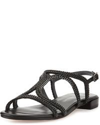 Stuart Weitzman Samoa Chain Strappy Flat Sandal Black