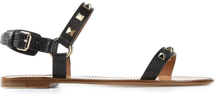 e545e55b376e Rockstud Double Strap Sandals. Black Embellished Leather Flat Sandals by Valentino  Garavani