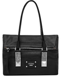 Black Embellished Leather Handbag