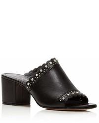 Pour La Victoire Amela Embellished Leather Block Heel Slide Sandals