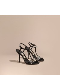 Burberry Gem Embellished Leather Sandals