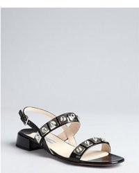 Prada Black Crosshatched Leather Crystal Embellished Slingback Sandals