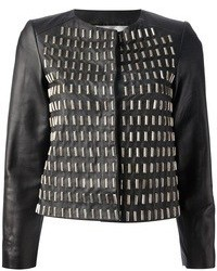Black Embellished Leather Jacket