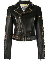 Fausto Puglisi Embellished Belted Biker Jacket