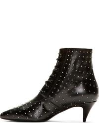 ... Saint Laurent Black Leather Micro Stud Cat Boots 06876083d