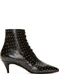 Saint Laurent Black Leather Micro Stud Cat Boots