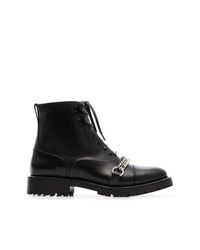 Burberry Chain Detail Lace Up Ankle Boots