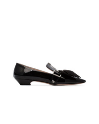 Miu Miu 25 Black Ed Leather Pumps