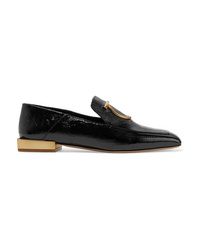 Salvatore Ferragamo Lana Embellished Textured Patent Leather Collapsible Heel Loafers