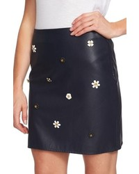 CeCe Embellished Faux Leather Miniskirt