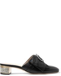 Crystal embellished leather mules black medium 4392848