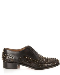 Christian Louboutin Bruno Spike Embellished Leather Oxford Shoes