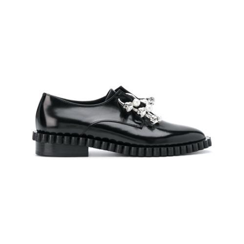 083dea90e0 ... Black Embellished Leather Oxford Shoes Coliac Cake Embellished Derby  Shoes ...