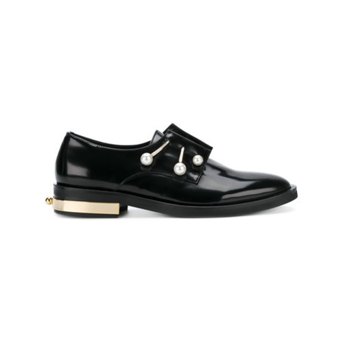 24411aad4d ... Black Embellished Leather Oxford Shoes Coliac Pearl Detail Loafers ...
