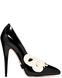 Gucci Bow Embellished Patent Leather Pumps Black