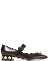 Gucci Embellished Leather Mary Jane Pumps Black