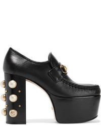 Gucci Embellished Leather Platform Loafers Black