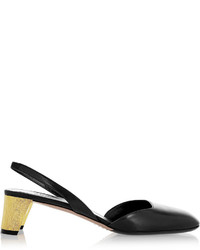 Gucci Arielle Swarovski Crystal Embellished Leather Slingback Pumps Black