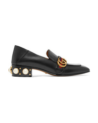 Gucci Peyton Logo And Faux Pearl Embellished Leather Collapsible Heel Pumps