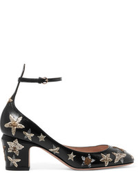 Valentino Tango Embellished Leather Pumps Black