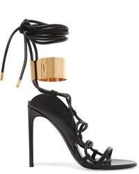 Tom Ford Embellished Leather Sandals Black