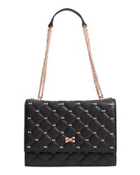 Black Embellished Leather Satchel Bag