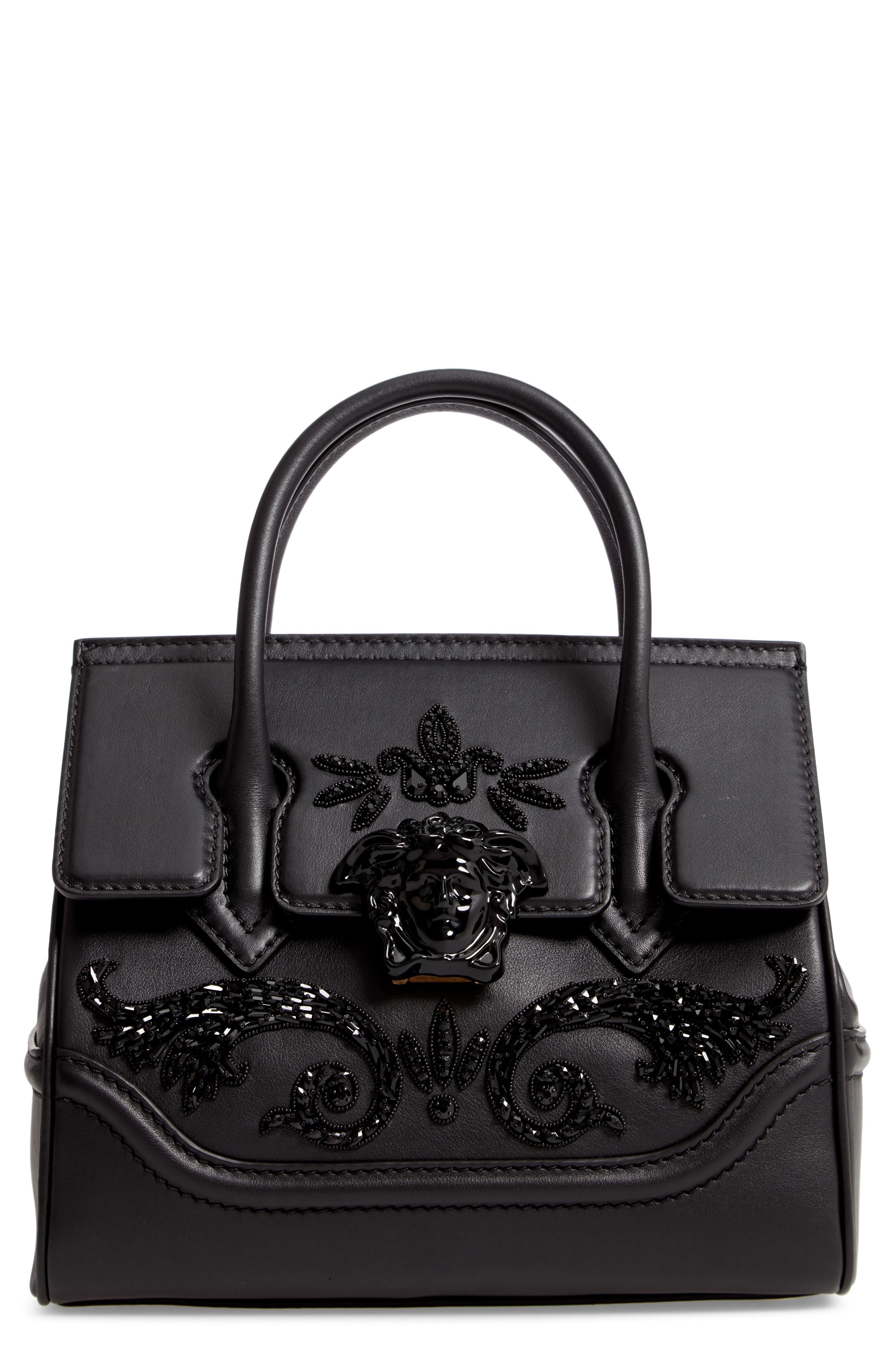 4fc2030f42 Palazzo Empire Medium Crystal Embellished Leather Satchel. Black  Embellished Leather Satchel Bag by Versace