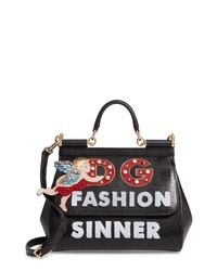 Dolce & Gabbana Small Sicily Fashion Sinner Leather Satchel